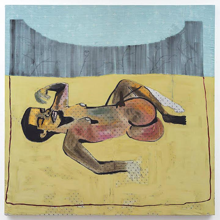 Jonathan Lyndon Chase Man Dreaming in Garden, 2015 Acrylic on bedsheets 72 x 72 in.