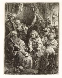 "The quality and paper of this etching entitled ""Joseph Telling His Dreams"" indicates it is a lifetime print of a subject he explored in both his etching and painting."