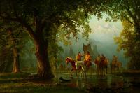 Albert Bierstadt (1830-1902) | Departure of an Indian War Party.  Oil on board, 17 1/4 x 24 1/4 inches