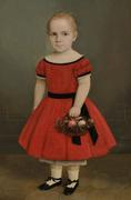 Lot 739: American School, 19th Century Portrait of a Blond-haired Girl Holding a Basket of Flowers Estimate $1,500-2,500