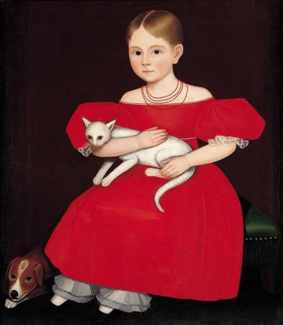 Ammi Phillips (1788–1865) Girl in Red Dress with Cat and Dog, 1830–35 Oil on canvas Collection American Folk Art Museum, New York Gift of Ralph Esmerian, 2001.37.1 Photo by John Parnell, New York