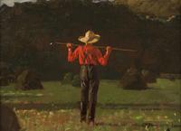 Winslow Homer (American, 1836–1910) Farmer with a Pitchfork.  Oil on board.