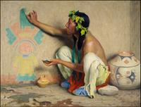 EANGER IRVING COUSE (1866-1936) Kachina Painter (1917) oil on canvas 35 x 46 inches signed l.l.  Estimate: $800,000-1,200,000