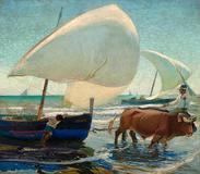 Arthur Grover Rider (American, 1886-1975) Boats at Valencia, signed 'A.G.  Rider' (lower right) oil on canvas, 43 3/4 x 49 1/2in overall: 50 1/2 x 56 1/2in.  Estimate: US$150,000 - 250,000 .