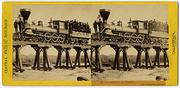 Alfred A.  Hart (American, 1816-1908), Locomotive on Trestle, near American River, 1865, albumen stereograph, Courtesy Union Pacific Railroad Museum