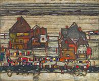 "Egon Schiele's ""Hauser mit Bunter Wasche 'Vorstadt' II"" sold for $40.1 million at Sotheby's."