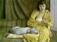 Girl with a white dog , 1951 - 1952.  Oil on canvas, by Lucien Freud.
