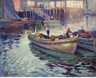Vladimir Pavlosky (1884-1944), Harbor Scene Oil on canvas, 22 x 27 1/4 inches.  Vose Galleries.