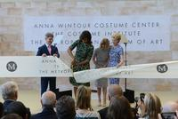 First Lady Michelle Obama cutting the ribbon to open The Costume Institute's new Anna Wintour Costume Center yesterday morning.  Pictured, from left: Thomas P.  Campbell, Director of the Metropolitan Museum; First Lady Michelle Obama; Anna Wintour, Artistic Director of Condé Nast and Editor-in-Chief of Vogue; and Emily K.  Rafferty, President of the Metropolitan Museum