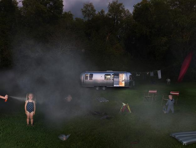 Julie Blackmon, Airstream, 2011.  Archival pigment print, 24 x 31 inches.  Courtesy of G.  Gibson Gallery, Seattle.
