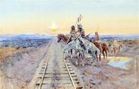 "The Coeur d' Alene Art Auction sold Charles M.  Russell's 1924 painting entitled ""Trail of the Iron Horse"" for $1.9 million on July 27, 2014."