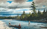 "Ogden M.  Pleissner (1905-1983), Angling for Salmon, 1940, signed ""Pleissner"" lower left, watercolor, 17 1/2 by 27 1/2 in.  ESTIMATE: $40/60,000"