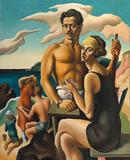 Thomas Hart Benton, Self-Portrait with Rita (detail), 1922.  Oil on canvas; 124.5 x 100 cm.  National Portrait Gallery, Smithsonian Institution, Washington, D.C., Gift of Mr.  and Mrs.  Jack H.  Mooney.