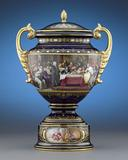 Royal Vienna-style porcelain covered vase from M.S.  Rau Antiques