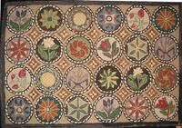 Compasses, floral in circles, rug, Maine,