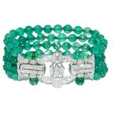 Art Deco platinum diamond and emerald beads bracelet.  From N.  Green & Sons, Booth 6005.