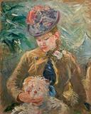 Berthe Morisot, Young Girl with a Dog (Jeune fille au chien), c.  1887.  Oil on canvas.  Michael Armand Hammer and the Armand Hammer Foundation.