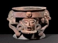 INCENSARIO WITH OVERLORD DEPICTION Late-Classic 600-900 CE Polychrome Ceramic 8.75x10 inches at THROCKMORTON FINE ART.