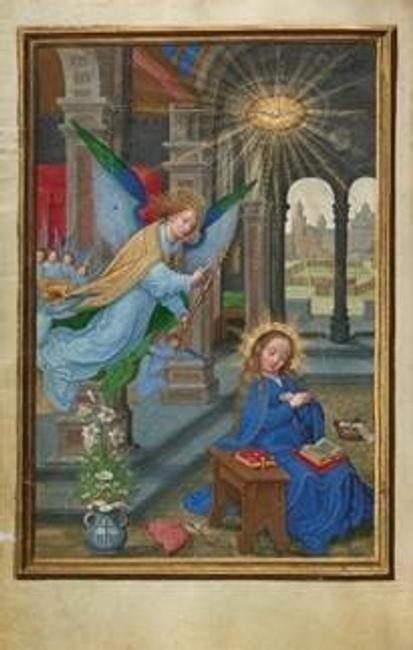 The Annunciation, about 1525 – 1530.  Simon Bening (Flemish, about 1483 - 1561).  Tempera colors, gold paint, and gold leaf on parchment.  Leaf: 16.8 × 11.4 cm (6 5/8 × 4 1/2 in.).  The J.  Paul Getty Museum, Los Angeles, Ms.  Ludwig IX 19, fol.  13v