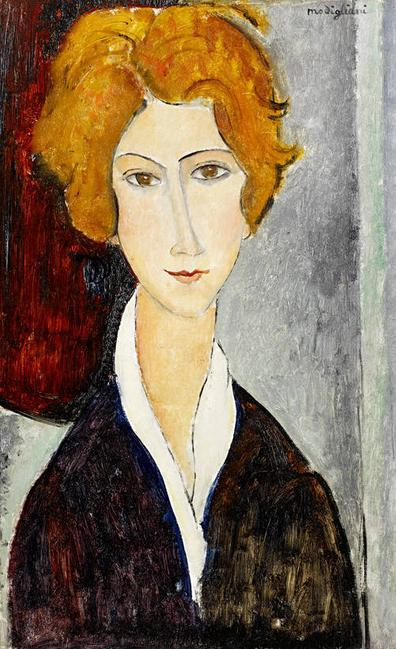 "Expected to fetch £1.5-2.5 million at Bonhams is ""Portrait de Femme,"" painted circa 1917-1918, by the Italian artist Amedeo Modigliani."