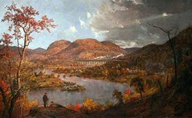 Jasper F.  Cropsey (1823-1900), Starrucca Viaduct, 1896, Oil on canvas, 46 1/4 x 68 1/2 inches, Bequest of Richard M.  Scaife, RMS.274