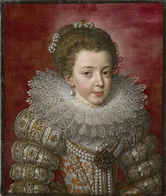 Frans Pourbus the Younger 1569 – 1622.  Elisabeth of France (1602 – 1644), later Isabelle, Queen of Spain Painted circa 1610-12.  Oil on a de-lined canvas: 21 1/4 x 18 5/16 inches.
