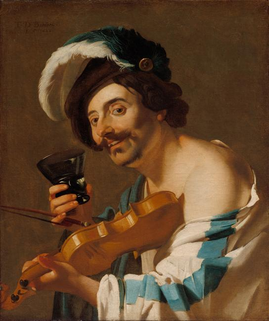 The Violin Player, 1623.  Dirck van Baburen (Dutch, c.  1592/3–1624).  Oil on canvas; 80.4 x 67.1 cm.  The Cleveland Museum of Art.