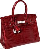 This red crocodile Birkin with white gold and diamond hardware, sold for $203,150 at a Heritage Auction in 2011.