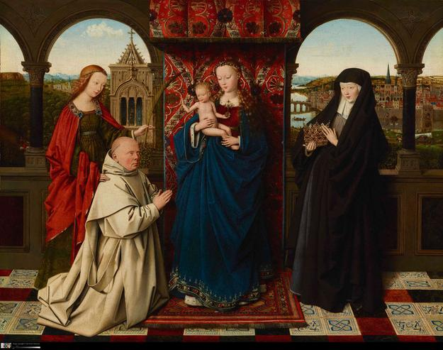 Jan van Eyck (Netherlandish, about 1395 - 1441) and workshop.  Virgin and Child with Saints and Donor, about 1441-43.  Oil on panel.  On loan from The Frick Collection, New York L2016.25