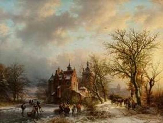 "Winter landscape with wood gatherers and skaters, 1854"" a masterpiece by Barend Cornelis Koekkoek (est: $150,000-$250,000)"