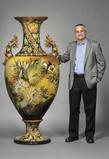 Lot 68: Large Doulton Lambeth Faience Floor Vase, England, c.  1893, height 75 1/2 inches Estimate $20,000-30,000