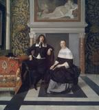 Portrait of a Man and Woman in an Interior, painted about 1666, by Eglon van der Neer (Dutch, 1634–1703).  Oil on panel.  Museum of Fine Arts, Boston.  Seth K.  Sweetser Fund.