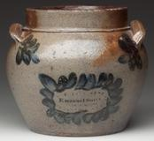 "Lot 1 – Signed ""Emanuel Suter"", Rockingham Co., Shenandoah Valley of Virginia salt-glazed stoneware honey or sugar pot, circa 1851.  5"" H.  Price: $86,250.  A new record price for Virginia pottery."