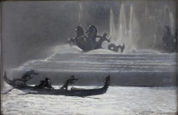 """The Fountains at Night, World's Colombian Exposition,"" 1893, oil on canvas, by Winslow Homer.  Bowdoin College Museum of Art."