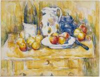 Paul Cézanne, Still Life with Apples on a Sideboard, c.  1900–06, watercolor over pencil on white paper, Dallas Museum of Art, The Wendy and Emery Reves Collection