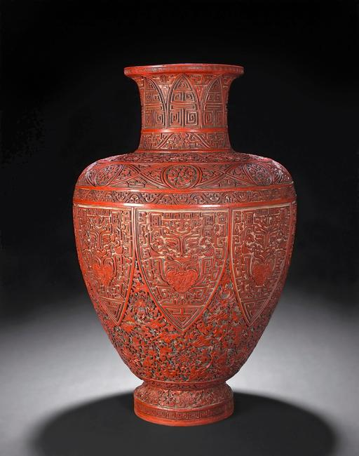 A rare carved red, lacquer vase, Qianlong, discovered in an East Coast private collection, is a star lot in Bonhams' June 21 sale in San Francisco (est.  $80,000-120,000).