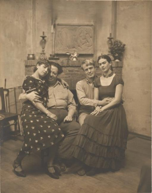 Diego Rivera and Frida Kahlo with Lucile and Arnold Blanch at Coyoacán, c.  1930, Peter A.  Juley & Son, New York City , active 1910s - 1970s.  Gelatin silver print, image and sheet: 9 1/2 x 7 1/2 inches.  Philadelphia Museum of Art: Gift of Carl Zigrosser, 1975.