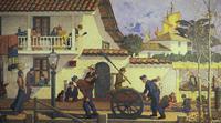 """""""Old Monterey"""" (mural detail), Henry Alderton, 1925"""