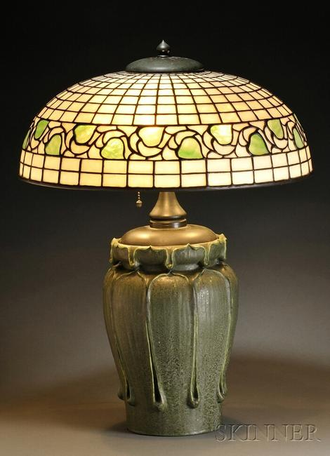 Grueby and Bigelow & Kennard Table Lamp.  Pottery and art glass.  Boston, Massachusetts, c.  1904.  Estimate $25,000-35,000
