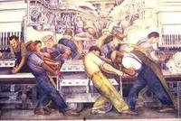 "Detail of Diego Rivera's ""Detroit Industry"" mural at the Detroit Institute of Arts."