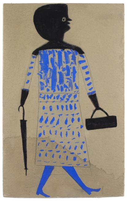 Bill Traylor, Woman with Handbag and Umbrella