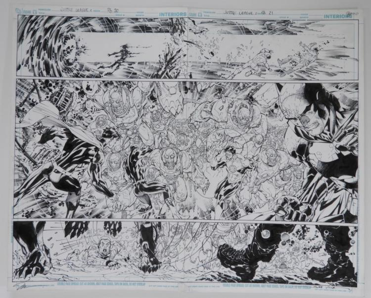 Original comic art for Volume 2, Issue 2, pages 20 and 21 of DC Comics Justice League, drawn by the illustrators Jim Lee and Scott Williams, signed by both (est.  $8,000-$12,000).