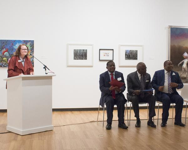 (left to right) Museum Director Kathleen Harleman, Kenyan Ambassador Robinson Njeru Githae, U of I Chancellor Robert Jones, Director General of the National Museums of Kenya Mzalendo Kibunjia at Krannert Art Museum, University of Illinois at Urbana-Champaign