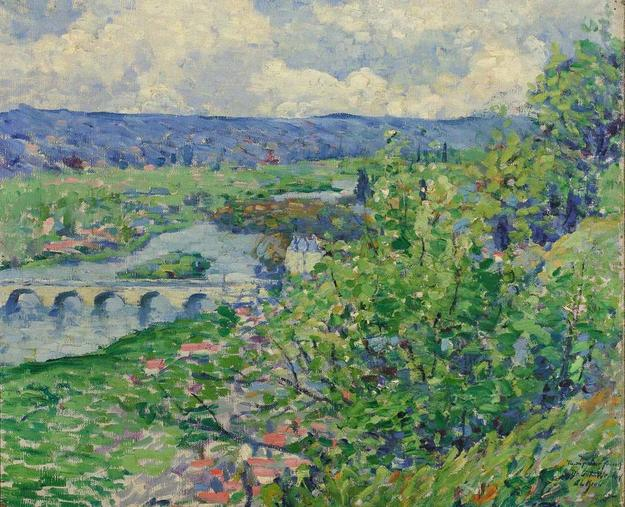 Leon Kroll (American, 1884-1974), Landscape with Bridge, Oil on canvas, 21 1/8 x 25 1/2 inches.  Est $6,000-8,000