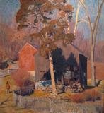 Daniel Garber (American 1880-1958) Red Barn, 1948-1951 Oil on canvas 30 x 28 inches Signed lower left of center: Daniel Garber