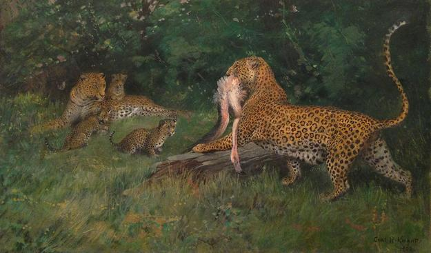 "Artist: Charles Knight (1874 -1953).  ""Leopard with Flamingo"" - circa 1900 Est: $6,000-8,000"
