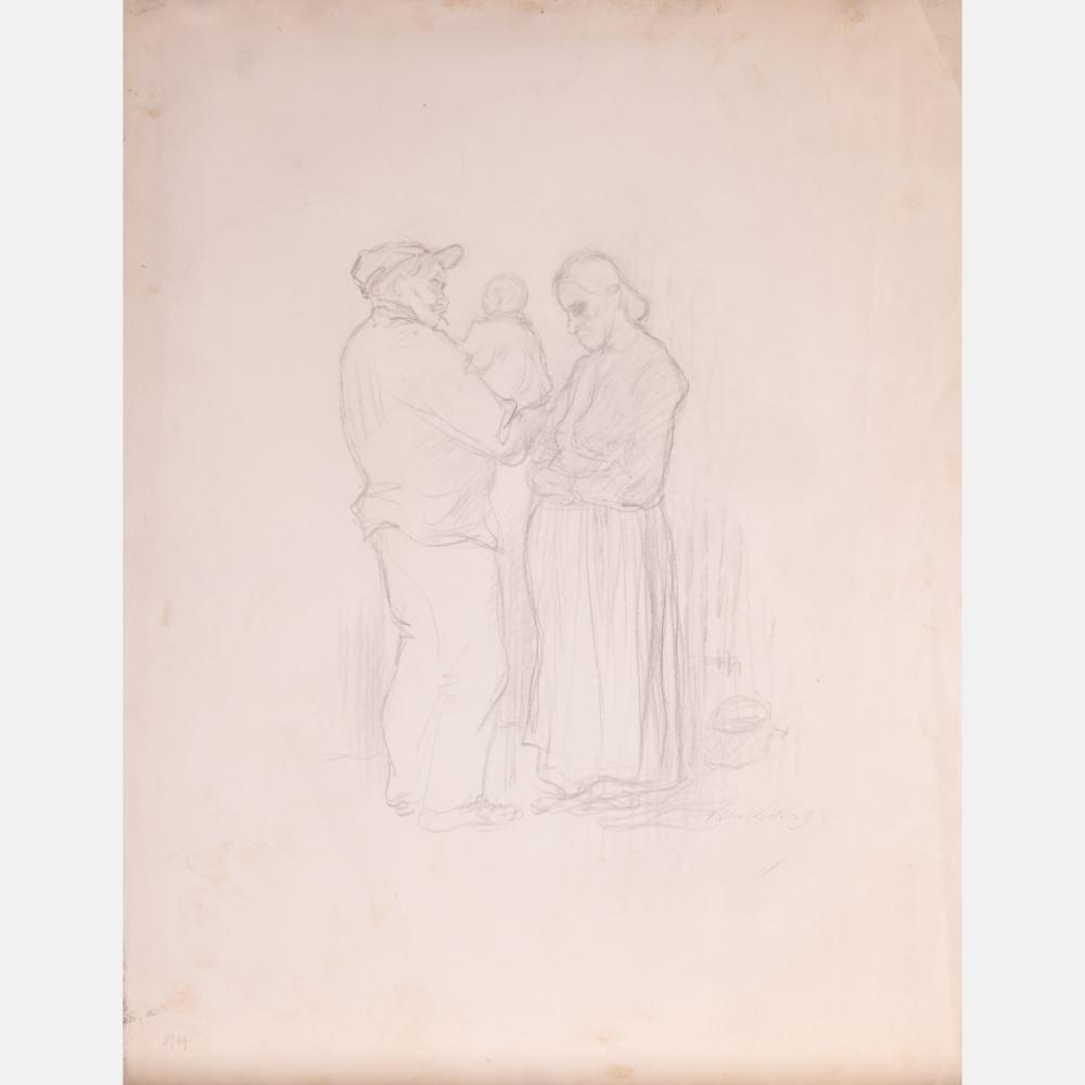Pencil on ivory and cream wove paper by Käthe Kollwitz (Prussian, 1867-1945), titled Begrussung (Greeting), circa 1892, signed lower right and numbered (8/19) lower left (est.  $5,000-$7,000).