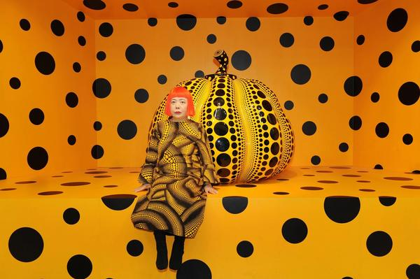 Kusama with Pumpkin, 2010.  ©YAYOI KUSAMA.  Courtesy of Ota Fine Arts, Tokyo / Singapore / Shanghai; Victoria Miro, London; David Zwirner, New York