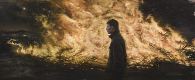 Julio Reyes (LCAD BFA Fine Arts Alumnus), Firestarter, Oil on Panel, 60 x 25 inches, $39,000 Purchase Prize and $1,000 Second Place