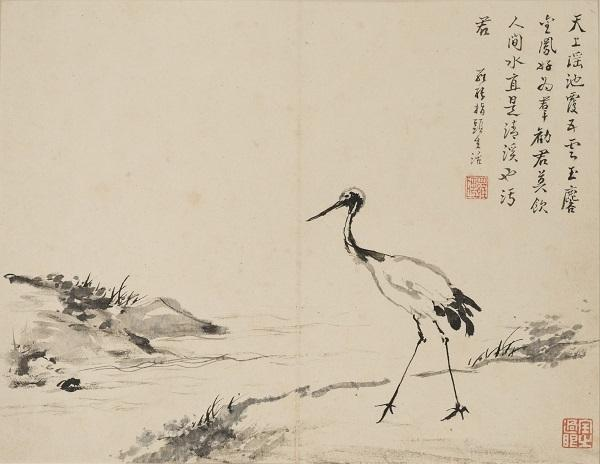 "LUO Ping, Chinese, 1733–1799, ""Finger Painting of Crane,"" From ""Album of Miscellaneous Subjects"" with WANG Feng.  Ink and color on paper; album leaf from a set of 12.  Anonymous loan."